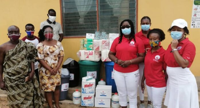 Elite Ladies Club Donates COVID 19 Relief Equiments and Supplies to Gomoa Aboso CHPS Compound